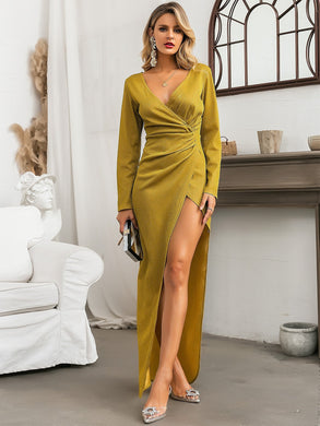 DRESSES Yellow Surplice Neck Wrap Ruched Prom Dress - EK CHIC