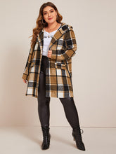 Load image into Gallery viewer, JACKET/COAT Plus Press Button Placket Plaid Hooded Coat - EK CHIC