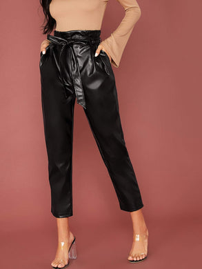 PANTS Paperbag Waist Belted PU Leather Cropped Pants - EK CHIC