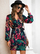 Load image into Gallery viewer, DRESS Floral Print Self Tie Fitted Dress - EK CHIC