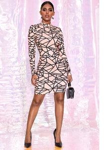 DRESS Geo Print Mock-neck Bodycon Dress - EK CHIC