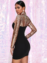 Load image into Gallery viewer, DRESS Color Block Mock-neck Sequin Bodycon Dress - EK CHIC