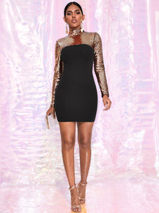 DRESS Color Block Mock-neck Sequin Bodycon Dress - EK CHIC