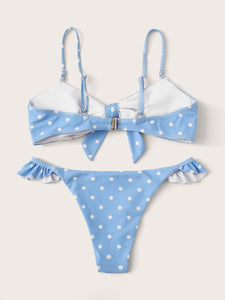 BIKINI Polka Dot Random Print High Cut Bikini Set - EK CHIC