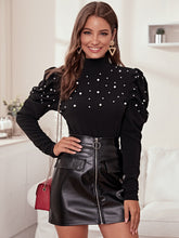 Load image into Gallery viewer, TOPS Mock-Neck Pearls Beaded Leg-of-mutton Sleeve Top - EK CHIC