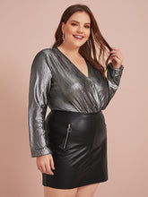 Load image into Gallery viewer, TOPS Plus Surplice Neck Metallic Bodysuit - EK CHIC