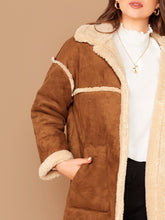 Load image into Gallery viewer, JACKET/COAT Plus Patch Pocket Faux Shearling Coat - EK CHIC