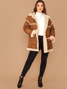 JACKET/COAT Plus Patch Pocket Faux Shearling Coat - EK CHIC