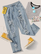 Load image into Gallery viewer, JEANS Bleach Wash Raw Hem Ripped Boyfriend Jeans - EK CHIC