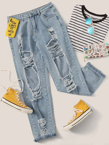 JEANS Bleach Wash Raw Hem Ripped Boyfriend Jeans - EK CHIC