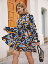 Load image into Gallery viewer, DRESS Plus Mock Neck Graphic Print Belted Dress - EK CHIC
