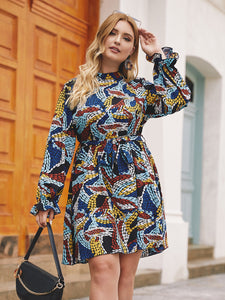 DRESS Plus Mock Neck Graphic Print Belted Dress - EK CHIC