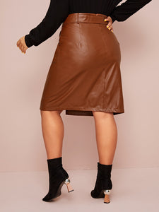 SKIRT Plus Split Hem Belted PU Skirt - EK CHIC