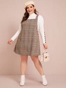 DRESS Plus Button Detail Plaid Pinafore Dress Without Tee - EK CHIC