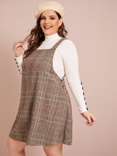 Load image into Gallery viewer, DRESS Plus Button Detail Plaid Pinafore Dress Without Tee - EK CHIC