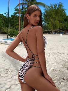 BIKINI Zebra Striped Criss Cross One Piece Swimwear - EK CHIC