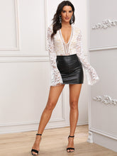Load image into Gallery viewer, BODYSUIT Deep V-neck Flounce Sleeve Lace Bodysuit - EK CHIC