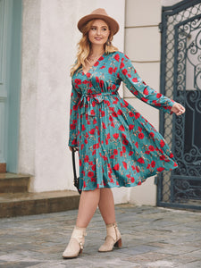DRESS Plus Floral Print Pleated Hem Belted Dress - EK CHIC