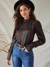 Load image into Gallery viewer, TOPS Polka Dot Keyhole Back Satin Blouse - EK CHIC