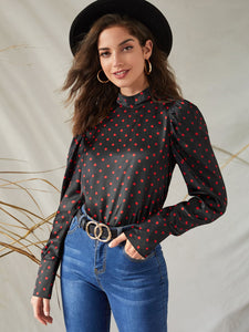 TOPS Polka Dot Keyhole Back Satin Blouse - EK CHIC