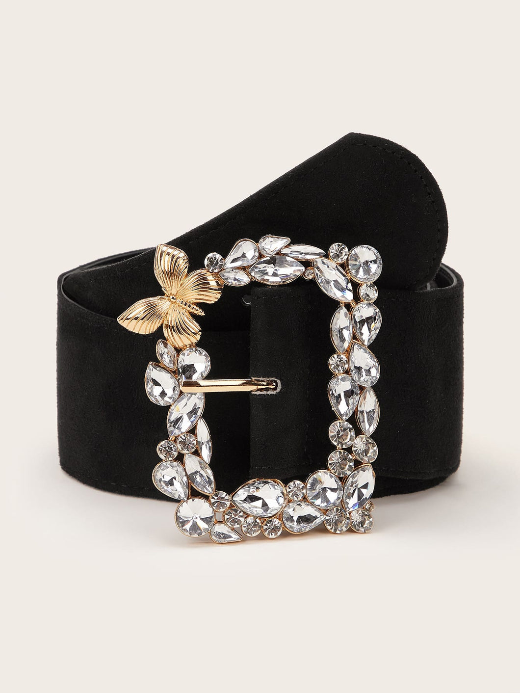 BELTS Flower & Rhinestone Decor Wide Belt - EK CHIC