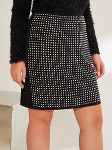 SKIRT Plus Zip Back Rhinestone Pencil Skirt - EK CHIC
