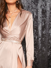 Load image into Gallery viewer, DRESS Plunge Neck Twist Front Split Thigh Satin Dress - EK CHIC