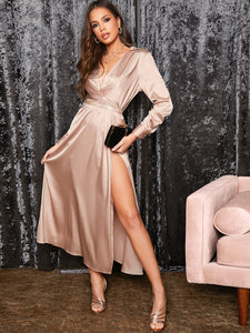 DRESS Plunge Neck Twist Front Split Thigh Satin Dress - EK CHIC