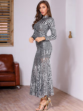 Load image into Gallery viewer, DRESS Mock Neck Striped Sequin Bodycon Dress - EK CHIC