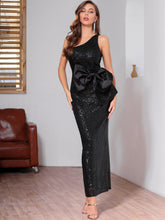 Load image into Gallery viewer, DRESS One Shoulder Bow Front Sequin Bodycon Dress - EK CHIC