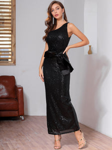 DRESS One Shoulder Bow Front Sequin Bodycon Dress - EK CHIC