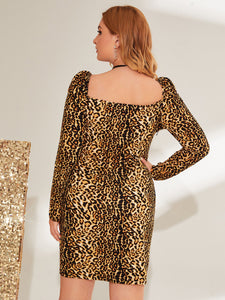 DRESS Plus Leopard Print Sweetheart Neck Bodycon Dress - EK CHIC