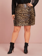 Load image into Gallery viewer, SKIRT Plus Leopard Print PU Leather Straight Skirt - EK CHIC