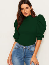 Load image into Gallery viewer, TOPS Mock-Neck Keyhole Back Puff Sleeve Top - EK CHIC