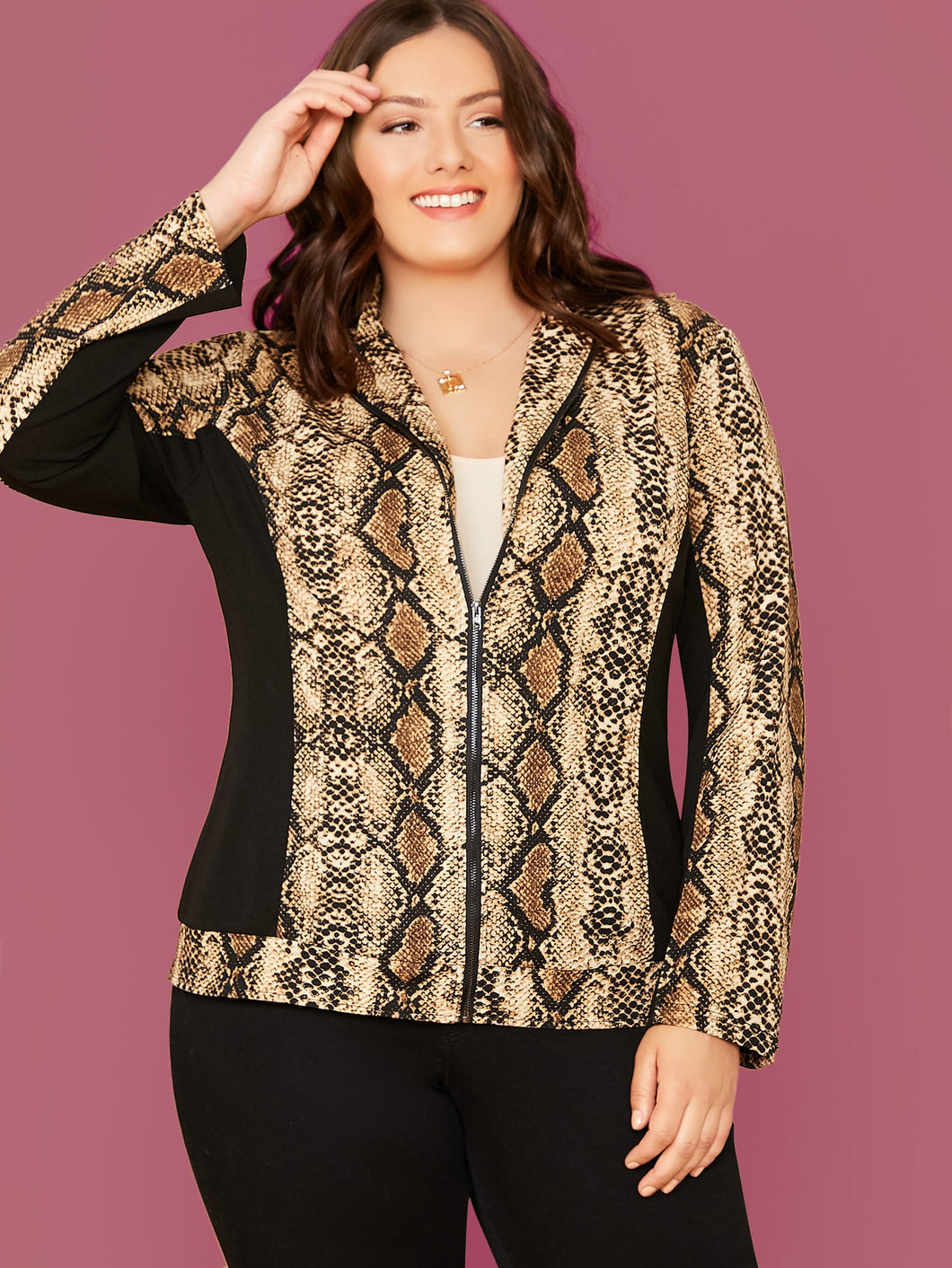 JACKET/COAT Plus Zip Up Solid Panel Snakeskin Print Jacket - EK CHIC