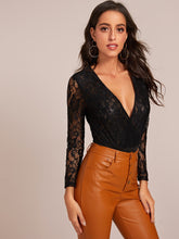 Load image into Gallery viewer, BODYSUIT Contrast Lace Plunging Solid Bodysuit - EK CHIC