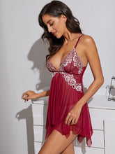 Load image into Gallery viewer, LINGERIE Floral Embroidery Mesh Slips With Thong - EK CHIC
