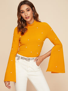 TOPS Mock-neck Pearl Embellished Split Sleeve Top - EK CHIC