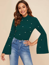 Load image into Gallery viewer, TOPS Mock-neck Pearl Embellished Split Sleeve Top - EK CHIC