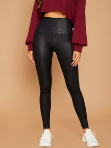 LEGGINGS Wide Waistband Crocodile Embossed Leggings - EK CHIC