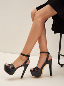 STILETTO SHOES Croc Ankle Strap Stiletto Heels - EK CHIC