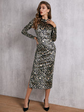 Load image into Gallery viewer, DRESS SBetro Mock-neck Leopard Velvet Bodycon Dress - EK CHIC