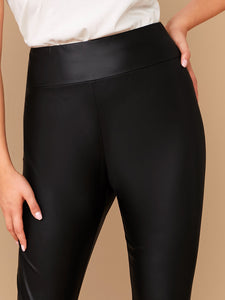 PANTS Plus Elastic Waist Leather Look Leggings - EK CHIC
