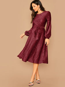 DRESSES Lantern Sleeve Self Belted Glitter Dress - EK CHIC