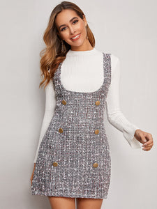DRESS Double Button Tweed Suspender Dress - EK CHIC