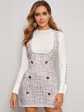 Load image into Gallery viewer, DRESS Double Button Tweed Suspender Dress - EK CHIC