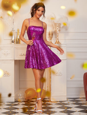DRESS Lace-up Open Back Fit and Flare Sequin Dress - EK CHIC