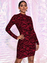 Load image into Gallery viewer, DRESS Geo Print Mock-neck Bodycon Dress - EK CHIC