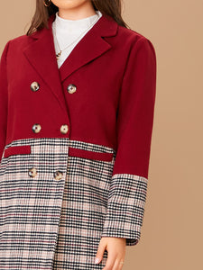 JACKET/COAT Plus Double Breasted Cut-and-sew Plaid Coat - EK CHIC