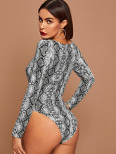 Load image into Gallery viewer, BODYSUIT Square Neck Snakeskin Print Fitted Bodysuit - EK CHIC